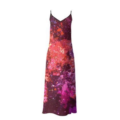 Long Slip Dress - Red Nebula Galaxy Abstract