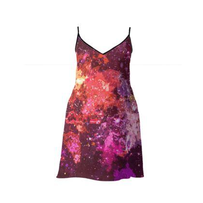Short Slip Dress - Red Nebula Galaxy Abstract