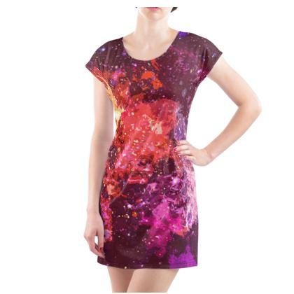 Ladies Tunic T Shirt - Red Nebula Galaxy Abstract