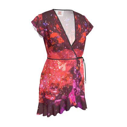 Tea Dress - Red Nebula Galaxy Abstract