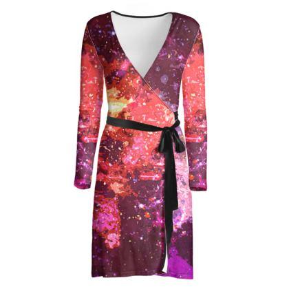 Wrap Dress - Red Nebula Galaxy Abstract