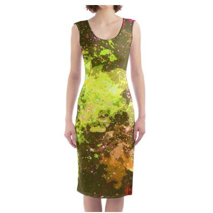 Bodycon Dress - Yellow Nebula Galaxy Abstract
