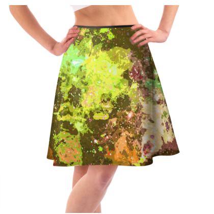 Knee-Length Flared Skirt - Yellow Nebula Galaxy Abstract