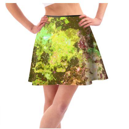 Short Flared Skirt - Yellow Nebula Galaxy Abstract