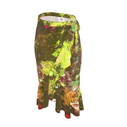 Long Flounce Skirt - Yellow Nebula Galaxy Abstract