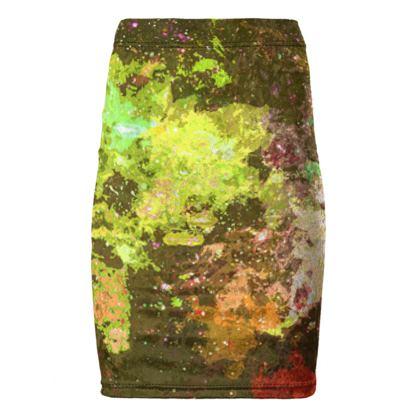 Pencil Skirt - Yellow Nebula Galaxy Abstract