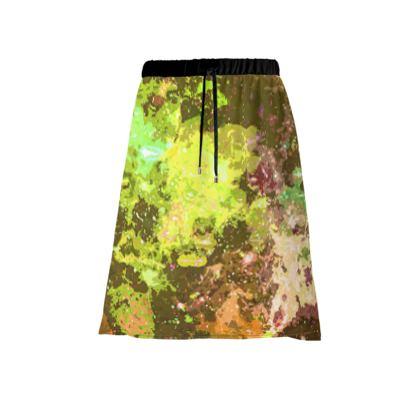 Midi Skirt - Yellow Nebula Galaxy Abstract