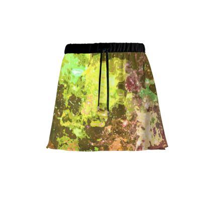Mini Skirt - Yellow Nebula Galaxy Abstract