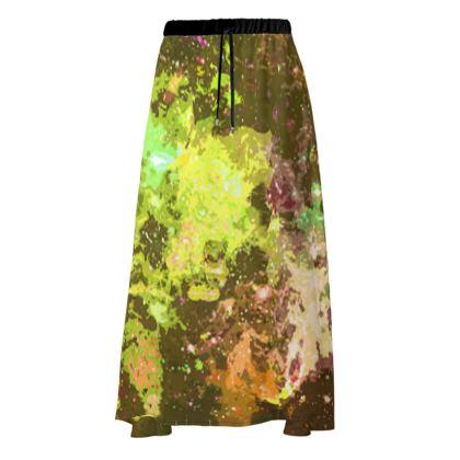 Maxi Skirt - Yellow Nebula Galaxy Abstract