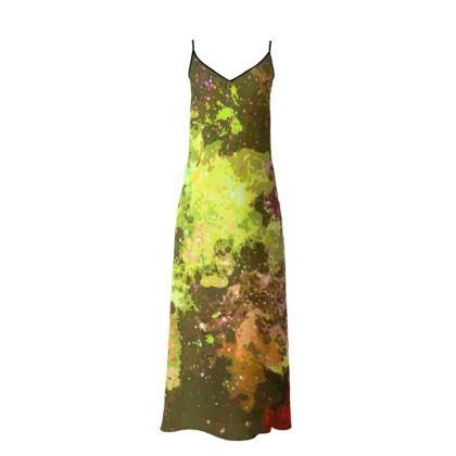 Long Slip Dress - Yellow Nebula Galaxy Abstract