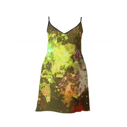 Short Slip Dress - Yellow Nebula Galaxy Abstract