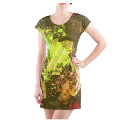 Ladies Tunic T Shirt - Yellow Nebula Galaxy Abstract