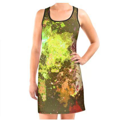 Vest Dress - Yellow Nebula Galaxy Abstract