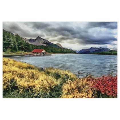 Maligne Mountain Lake in fall - 16x24in Poster