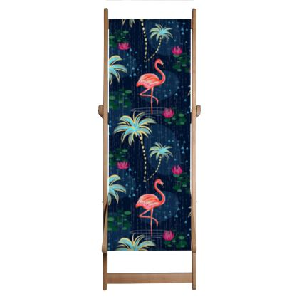 Pink flamingo - Deckchair  - tropical rain, palms, dark blue, navy, exotic, Bohemian, whimsical, resort, beach, bright, jungle, travel - design by Tiana Lofd