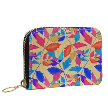 Small Zip Purse [Oilcloth shown] Orange, Blue   Cathedral Leaves  Kaleidoscope