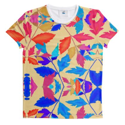 Cut And Sew All Over Print T Shirt Orange, Blue, Botanical  Cathedral Leaves  Kaleidoscope