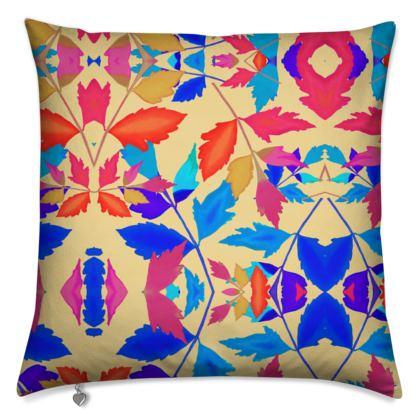 Cushions Orange, Blue, Botanical  Cathedral Leaves  Kaleidoscope