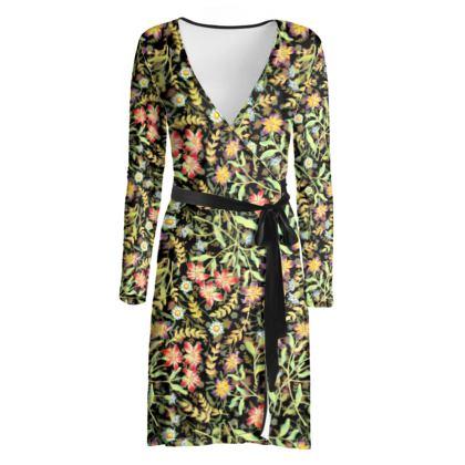 Midnight Meadows Wrap Dress