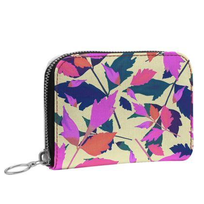 Small Zip Purse [Oilcloth Matte shown  Mauve, Pink, Botanical  Diamond Leaves  Sunset