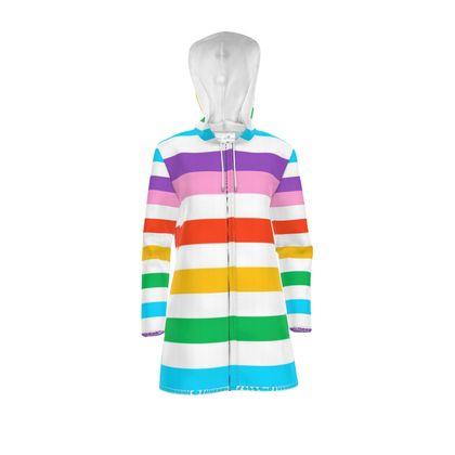 Women's Hooded Rain Mac - Rainbow Stripes