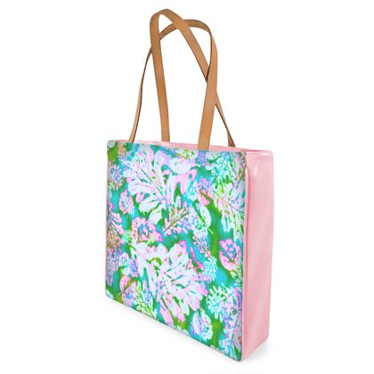 Shopper Bags Blue, Green, Botanical  Oaks  Marble