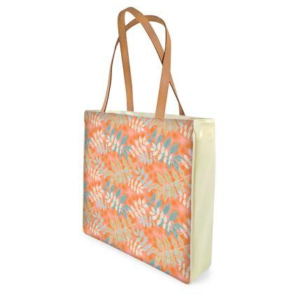 Shopper Bags Orange, Grey, Botanical  Etched Leaves