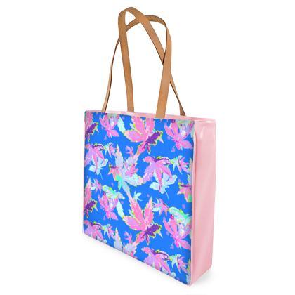 Shopper Bags Blue, Pink, Botanical  Regal Leaves  Sailing