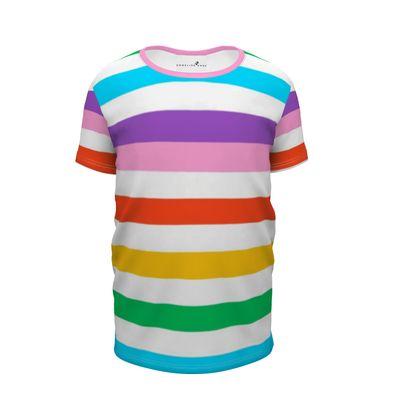 Girl's Premium T-Shirt-Emmeline Anne Rainbow Stripes