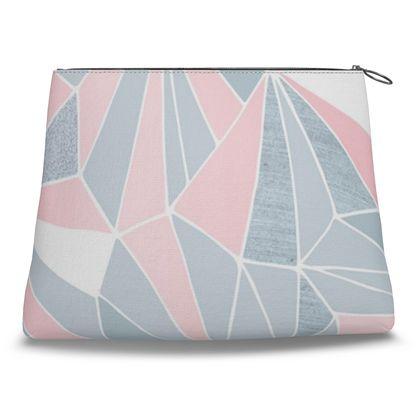 PRETTY PINK & GREY GEOMETRY Clutch Bag
