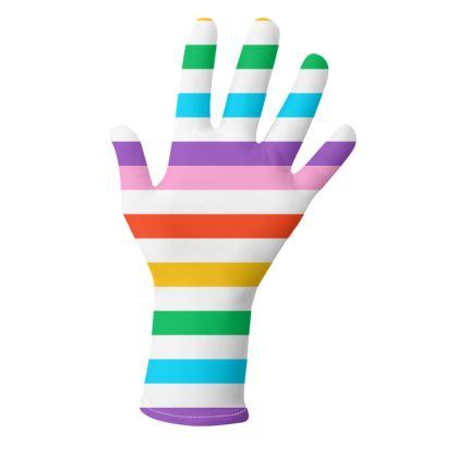 Lycra gloves- Emmeline Anne Rainbow Stripes