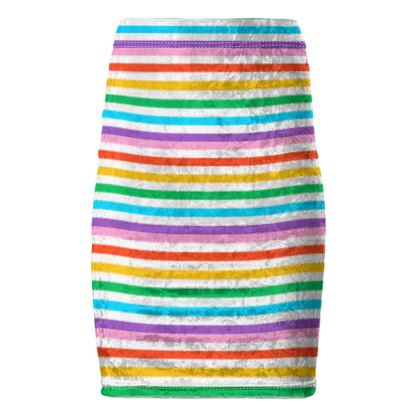 Pencil Skirt- Emmeline Anne Rainbow Stripes