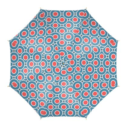 Japanese summer - Umbrella - Geometric shapes, abstract, blue and red, circles, elegant vintage, trendy, sophisticated stylish gift, modern, sports, spectacular retro - design by Tiana Lofd