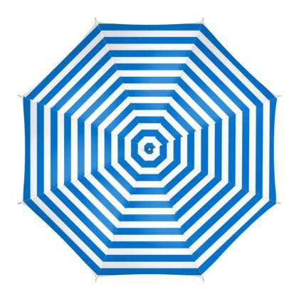 Vacation by the sea - Umbrella - Horizontally striped, white and blue stripes, marine, resort, coast, beach, classic, elegant gift, seaside vacation, sea, maritime - Design by Tiana Lofd