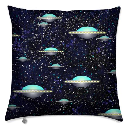 The living Universe - Cushions - Outer space wars, alien spaceships, fantasy, stars, dark starry sky, flying saucers, children's gift for boys - design by Tiana Lofd