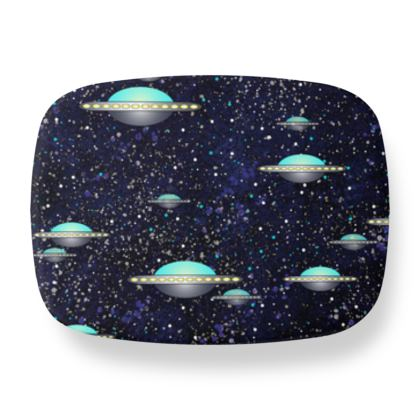 The living Universe - Lunch Box - Outer space wars, alien spaceships, fantasy, stars, dark starry sky, flying saucers, children's gift for boys - design by Tiana Lofd