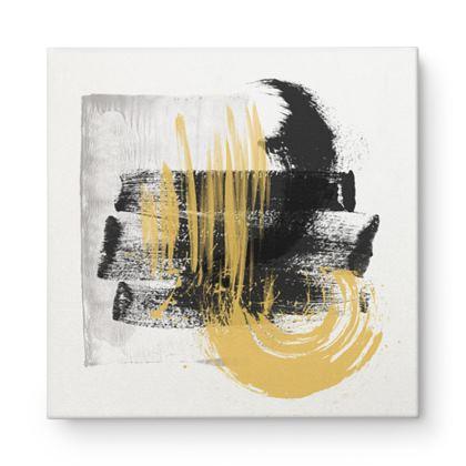 Nirvana Yellow Black Grey Abstract - Canvas