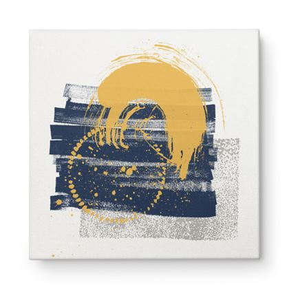 Nirvana Yellow and Navy Abstract - Canvas