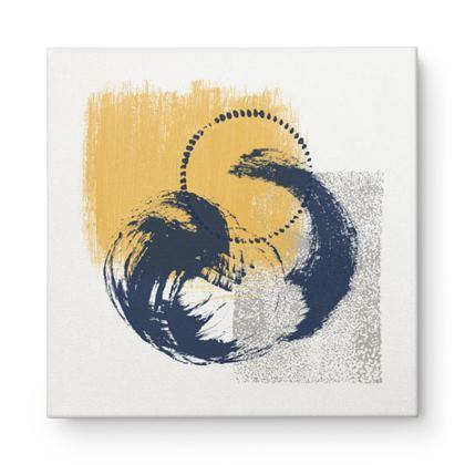 Nirvana Yellow Grey Navy Abstract - Canvas