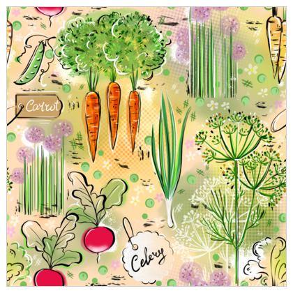 Garden harvest - Fabric Printing - Gardening, vegetables, carrots, green, countryside, vegetarianism, greenery, agricultural plants, gardening, gardener gift - design by Tiana Lofd