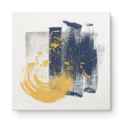 Nirvana Navy and Yellow Abstract - Canvas