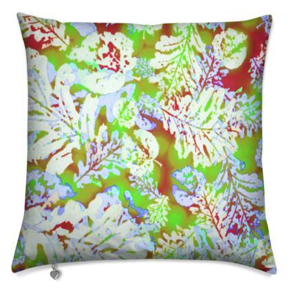 Cushions Green, Cinnamon, Botanical  [40 cm sq. shown] Oaks  Nutcracker