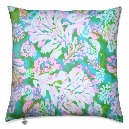 Cushions Green, Pink, Botanical [40 cm sq. shown],  Oaks  Marble