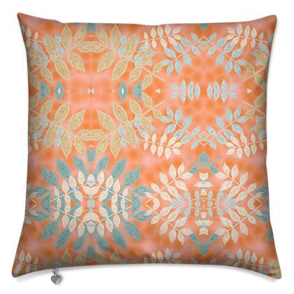 Cushions Orange, Grey, Botanical  Etched Leaves  Sahara
