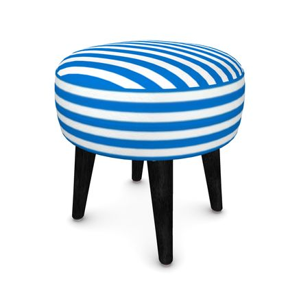 Vacation by the sea - Footstool (Round, Square, Hexagonal) - Horizontally striped, white and blue stripes, marine, resort, coast, beach, classic, elegant gift, seaside vacation, sea, maritime - Design by Tiana Lofd