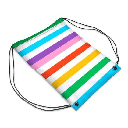 Drawstring PE Bag- Emmeline Anne Rainbow Stripes