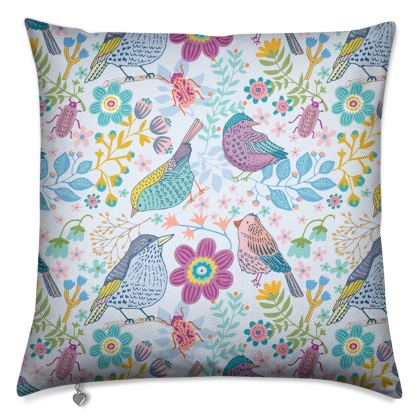 Birdgarden Blue Luxury Cushion