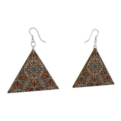 Wooden Earrings Geometric Shapes