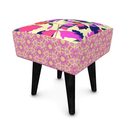 Footstool, Pink, Cream Botanical,  Diamond Leaves, Geometric Florals  Sunset, Ring of Roses