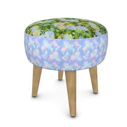 Footstool, Green, Blue, Botanical  Fuchsias  Newt, Baby Blue